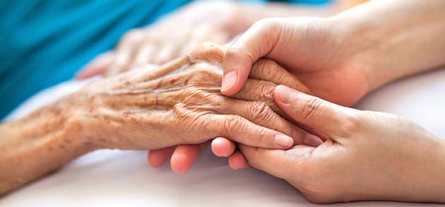 palliative care patient holding hands with a loved one